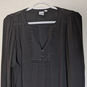 GAP black peasant style long sleeve top size S